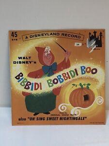 Vintage Disney Cinderella Bibbidi Bobbidi Boo 45 Little Gem Record With Sleeve
