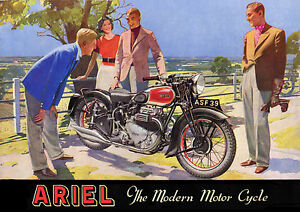 1939 Ariel Square Four motorcycle poster