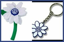 VW New Beetle WHITE Flower Daisy 1- Matching VW Logo Key Chain OEM