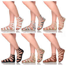 WOMENS LADIES LACE UP TIE STRAPPY SUMMER BOHO GHILLIE GLADIATOR SANDALS SIZE