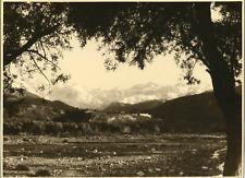 Paysage de montagne avec château, à identifier Vintage silver print Tirage arg