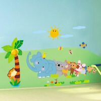 Cartoon Animal Elephant Tree PVC Wall Stickers Home Decor For Children Room