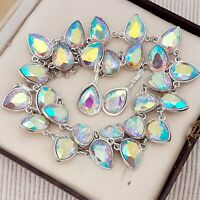 Vintage Style AB Teardrop Shape Glass Full Collar Necklace with Earrings