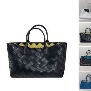 Woven Real Leather Contrast Tote Purse Handbag Double Top Handles Shopping bag