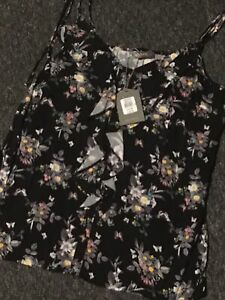 Black Multi Floral Strappy Top Frill Oasis Size 8 New Cost £25