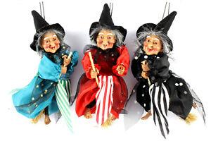 3 Hexen,auf Besen,ca.20 cm ,fliegend,Fasching,Fasnet,Hexenfiguren,Hexe,Halloween