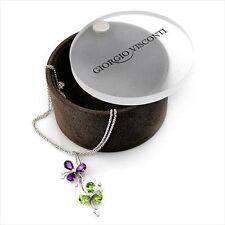 Designer 11.90ctw VS Diamond, Amethyst & Peridot Necklace 18k Solid White Gold