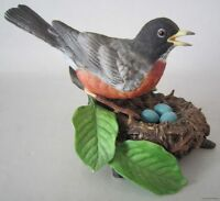 LENOX Porcelain AMERICAN ROBIN on Nest 1989 - GARDEN BIRDS Figurine