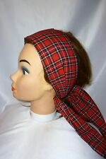 RED TARTAN BOW ROCKABILLY 1950'S LAND GIRL VINTAGE STYLE HEADSCARF HAIR WRAP