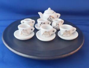 DAVID GILHOOLY art MINIATURE FROG TEASET  ceramic SIGNED frog food TEA NICE!