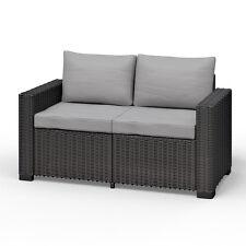 Allibert California 2-Sitzer Couch Polyrattan Gartenmöbel Lounge Rattanoptik
