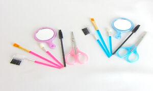 Travel Make Up Set Mini Eyelash Mascara  Eyebrow Brushes Mirror Set Of 2