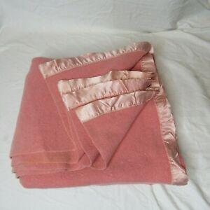 Vintage Wool Nylon Trim Smooth Blanket Dark Pink 70 x 56 Twin Warm Winter