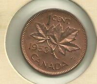 1953 No S F  Canada  1 Cent  MS Full Red