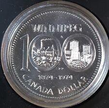 Canada 1974 Silver Dollar, KM-88a, Specimen, Winnipeg Centennial (Box5)
