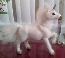 white simulation Unicorn toy resin&fur Pegasus horse doll gift about 18x18cm