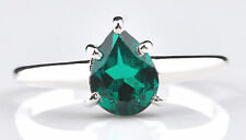 Real 14KT White Gold Pear Shape 1.20 Carat Natural Green Emerald Wedding Ring