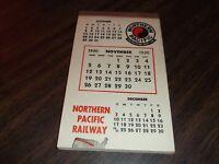 NOVEMBER 1950 NORTHERN PACIFIC PASSENGER TRAIN CALENDAR NOTE PAD