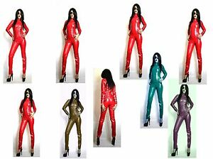 PU SEXY SOFT FAUX LEATHER CATSUIT RED GREY GREEN Size 26-30 UK NEW WITH TAGS