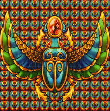Sacred Scarabs of Egypt Blotter Art perforated sheet paper psychedelic art