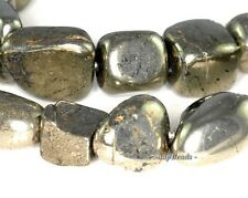 PALAZZO IRON PYRITE GEMSTONE SMOOTH NUGGET PEBBLE CUBE 12MM-8MM LOOSE BEADS 16""