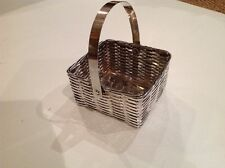 Vintage Fb Rogers Silver Woven Square Basket with Handle