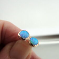 Hadar Designer Blue Opal Stud Earrings Handmade 14k Yellow Gold Fil 7mm  (v) y