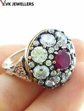 TURKISH HANDMADE RUBY RING Size 7.5 925 STERLING SILVER VICTORIAN JEWELRY R1641
