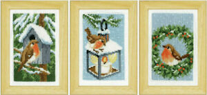 Robins In Winter Miniatures Set Of 3 Cross Stitch Kits - Includes frames