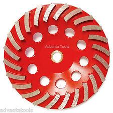 "7"" Turbo Diamond Grinding Cup Wheel for Concrete 24 Segs - 7/8""-5/8"" Arbor"