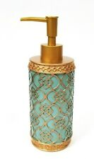 NEW GOLD,TURQUOISE BLUE 3D CARVED GEOMETRIC PATTERN RESIN SOAP DISPENSER