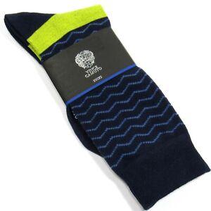 VINCE CAMUTO Men's Dress Socks Zig Zag Pattern Navy Blue One Size