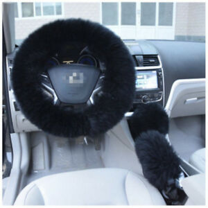 1 Set Long Furry Steering Wheel Cover Shifter Cover & Parking Brake Cover Black