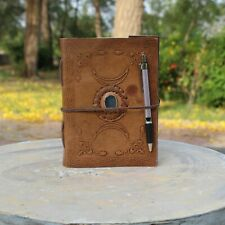 Handmade Triple Moon Design With Blue Stone Leather Journal Notebook Daily Diary