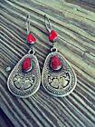 Vintage Women Boho Tibetan 925 Silver Turquoise Dangle Hook Earrings Jewelry