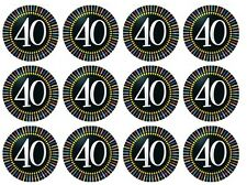 24 x 40th birthday 40's Edible image cupcake toppers Pre-Cut