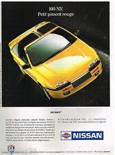 Publicité Advertising 1991 Nissan 100 NX
