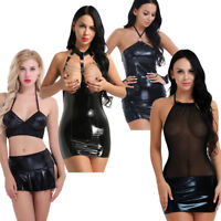 Women Open Cup Leather Bodycon Short Mini Dress Sexy Wet Look Lingerie Club Wear