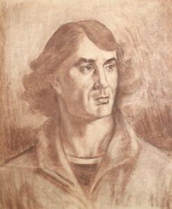 Antique pastel painting portrait