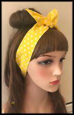 Yellow White Polka Dots Spot Spotty Fabric Headband Bandana Scarf Hairband Band