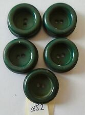 5 CHUNKY CONCAVE CENTRE GREEN   PLASTIC  BUTTONS  (E52