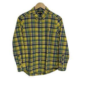 Ralph Lauren Yellow Plaid Button Up Shirt Long Sleeve Boy's L (14-16) (A-1A)