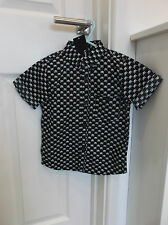 George 4-5Y 104-110cmH Black/White Pirate Skull S/Sleeve Shirt Perfect for Party