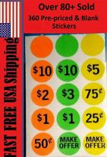 360 Yard Garage Sale Price Tag Sticker Labels Blank Flea Market