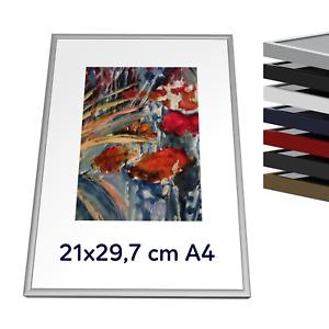 "A4 21x29.7 cm / 8.3x11.7"" Metal alluminium picture frame with plexiglass & HDF"