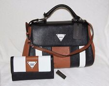 GUESS Women's Bayview Flap Satchel with matching wallet ( black multi) - NWT