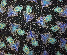 R Kaufman BEAU MONDE (Peacock-Black)100% Cotton Prem Quilt Fabric - Per 1/2 yd