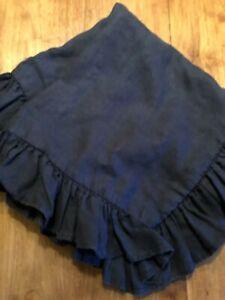"""Ralph Lauren European Square Pillow Sham Pillowcase 25""""  Ruffle Navy 100% Linen"""
