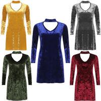 Ladies Women's Plus Size Long Sleeve Choker V-Neck Plus Flared Swing Dress 14-26