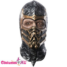 Mens Adult Mortal Kombat Deluxe Scorpion Overhead Latex Mask Costume Accessories